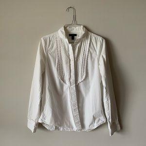 J. Crew white ruffled tuxedo blouse